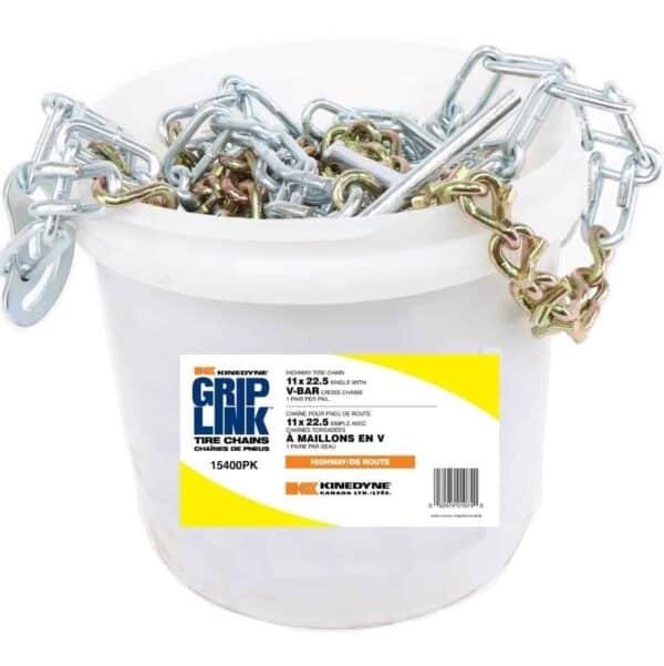 Kinedyne Grip Link 11 x 22.5 Single V-Bar Cross Tire Chains K15400PK
