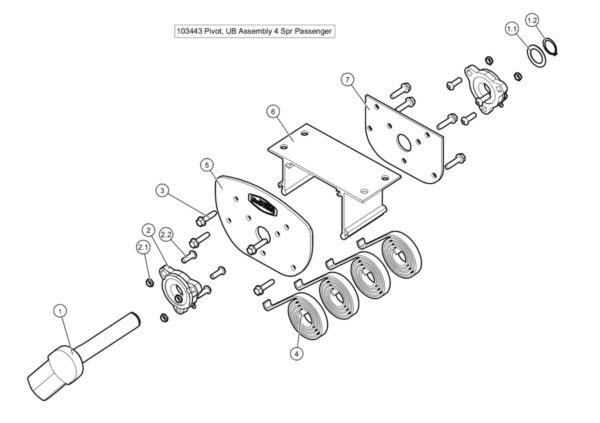 Roll Rite 4 Spring Underbody Pivot Assembly - PS RR103443