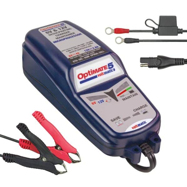 TecMate TM-223 - OptiMATE 5 VoltMATIC, 8-step 6V 4A : 12V 2.8A sealed battery saving charger and maintainer(1)