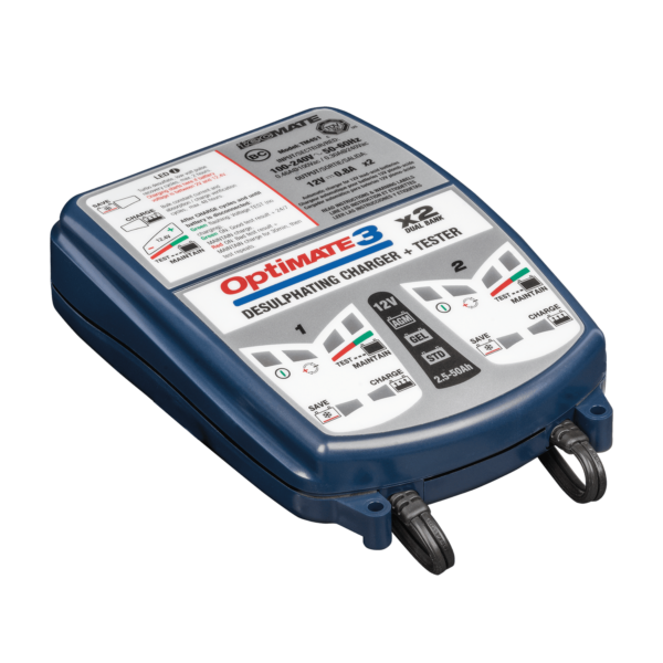 TecMate TM-451 OptiMATE 3 Dual bank, 7-step 2x12V 0.8A sealed battery saving charger and maintainer (1)