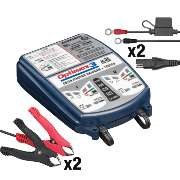 TecMate TM-451 OptiMATE 3 Dual bank, 7-step 2x12V 0.8A sealed battery saving charger and maintainer (2)