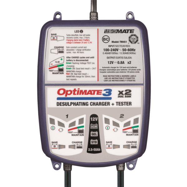 TecMate TM-451 OptiMATE 3 Dual bank, 7-step 2x12V 0.8A sealed battery saving charger and maintainer (3)