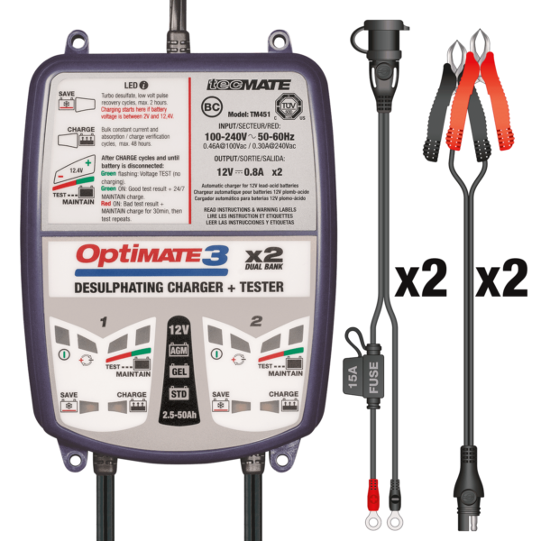 TecMate TM-451 OptiMATE 3 Dual bank, 7-step 2x12V 0.8A sealed battery saving charger and maintainer (4)