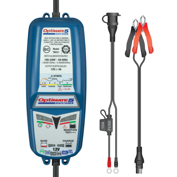 Tecmate OptiMATE 5 Start:Stop, TM-221, 6-step 12V 4A sealed battery saving charger and maintainer (4)