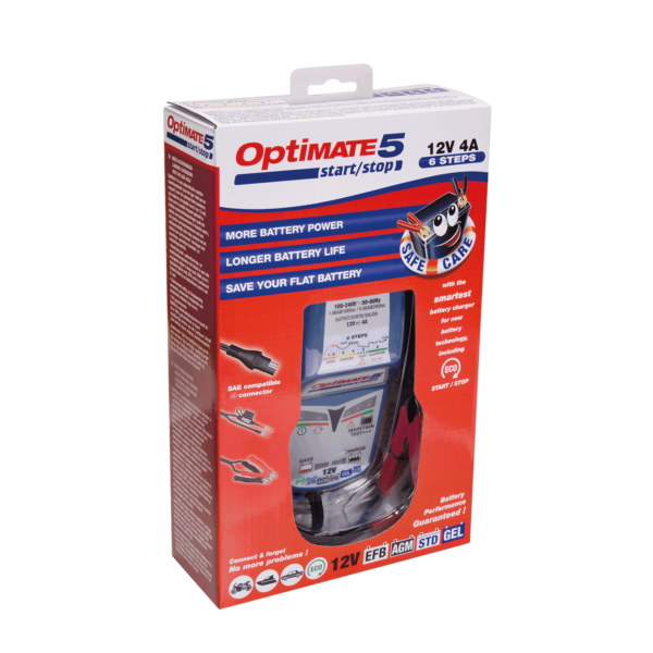 Tecmate OptiMATE 5 Start:Stop, TM-221, 6-step 12V 4A sealed battery saving charger and maintainer (7)