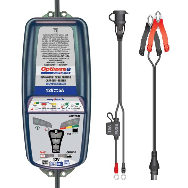 Tecmate OptiMATE 6 Ampmatic, TM-181, 9-step 12V 5A sealed battery saving charger & maintainer (2)