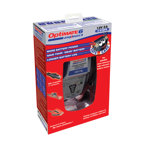 Tecmate OptiMATE 6 Ampmatic, TM-181, 9-step 12V 5A sealed battery saving charger & maintainer (6)