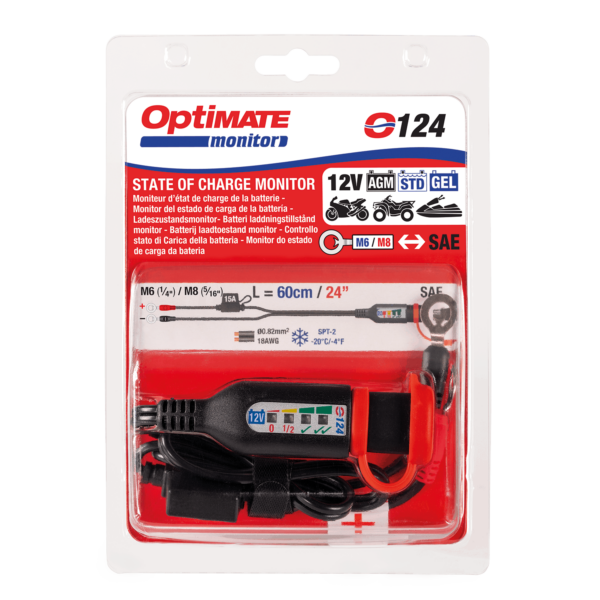 Tecmate OptiMATE MONITOR O-124, Permanent power sport battery lead with integrated battery status : charge system monitor for 12V lead-acid. (4)