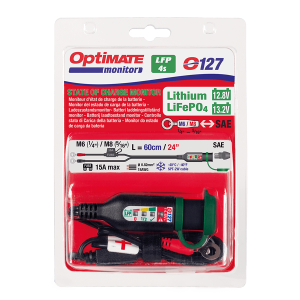 Tecmate OptiMATE MONITOR O-127, Permanent power sport battery lead with integrated battery status : charge system monitor for 12.8 : 13.2V lithium (4)