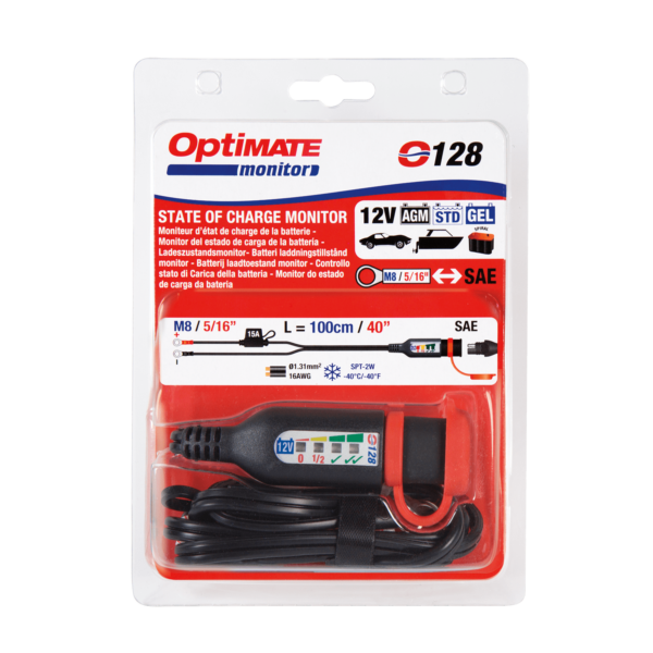 Tecmate OptiMATE MONITOR O-128, Permanent battery lead with integrated battery status : charge system monitor for 12V lead-acid (3)