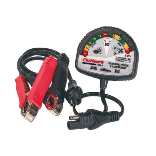 Tecmate OptiMATE TEST – Cranking and Alternator, TM-TS-121, 12V tester for battery state of charge, cranking performance and vehicle charging system