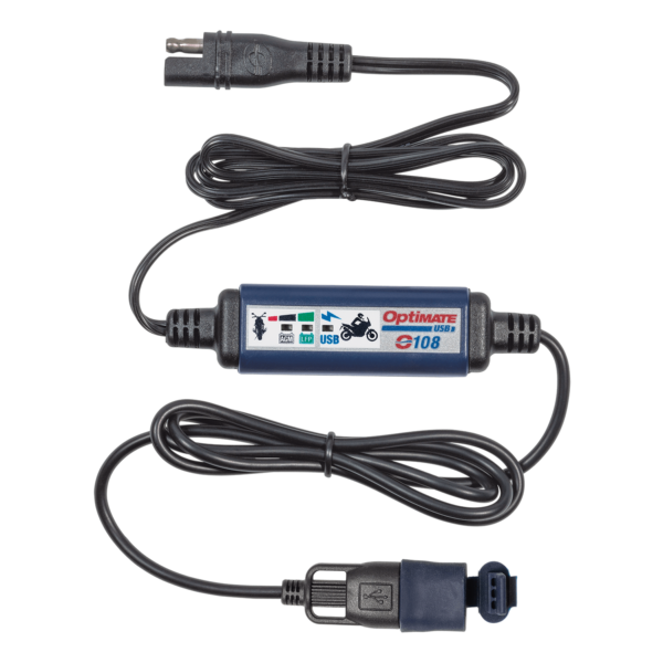 Tecmate OptiMATE USB O-108, 3300mA USB charger with battery auto protect off, weatherproof, SAE, in and out cables (2)