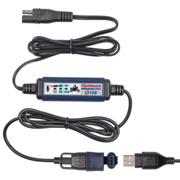 Tecmate OptiMATE USB O-108, 3300mA USB charger with battery auto protect off, weatherproof, SAE, in and out cables (3)
