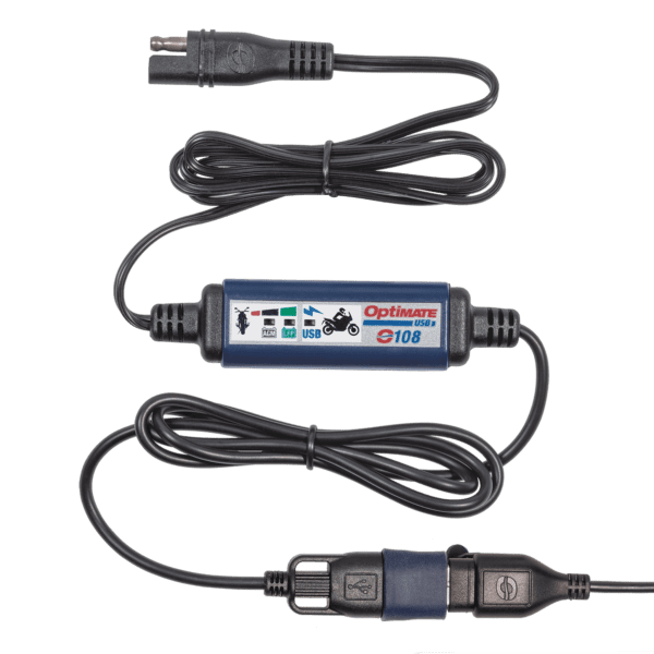 Tecmate OptiMATE USB O-108, 3300mA USB charger with battery auto protect off, weatherproof, SAE, in and out cables (4)