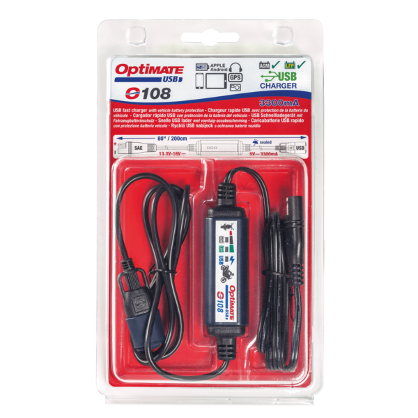 Tecmate OptiMATE USB O-108, 3300mA USB charger with battery auto protect off, weatherproof, SAE, in and out cables (7)