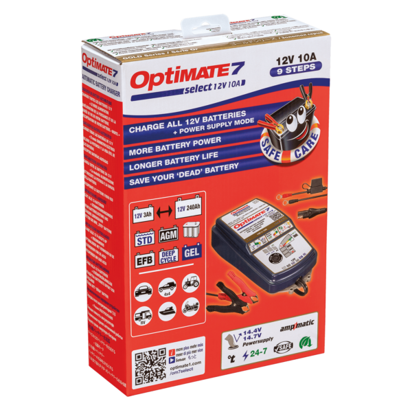 Tecmate TM-251 OptiMATE 7 SELECT, 9-step 12V 10A sealed battery saving charger and maintainer