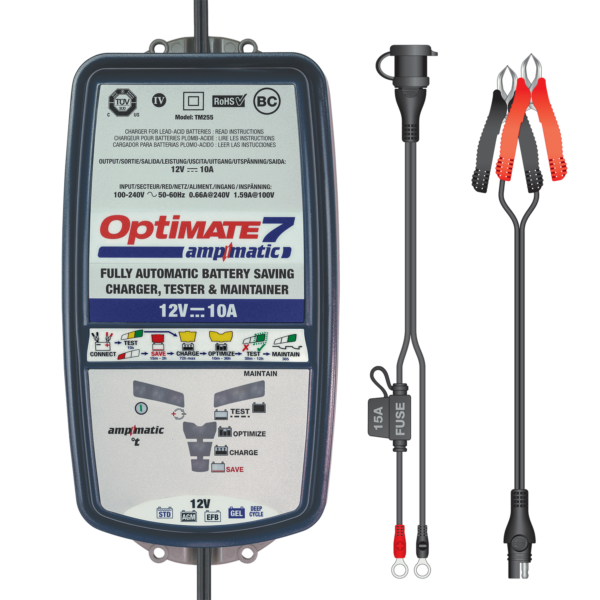 Tecmate TM-255 OptiMATE 7 Ampmatic, 9-step 12V 10A sealed battery saving charger and maintainer