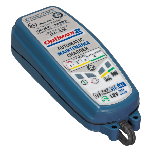 Tecmate TM-421 OptiMATE 2, 4-step 12V 0.8A sealed battery charger and maintainer