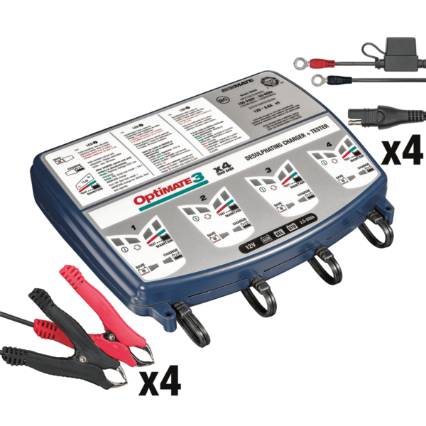 Tecmate TM-455 OptiMATE 3 Quad bank, 7-step 4x12V 0.8A sealed battery saving charger and maintainer (2)