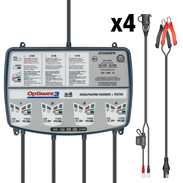 Tecmate TM-455 OptiMATE 3 Quad bank, 7-step 4x12V 0.8A sealed battery saving charger and maintainer (4)