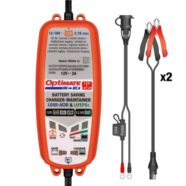 Tecmate TM-500 OptiMATE DC-DC, 6-step 12V:12.8V 2A sealed DC to DC battery saving charger and maintainer (3)