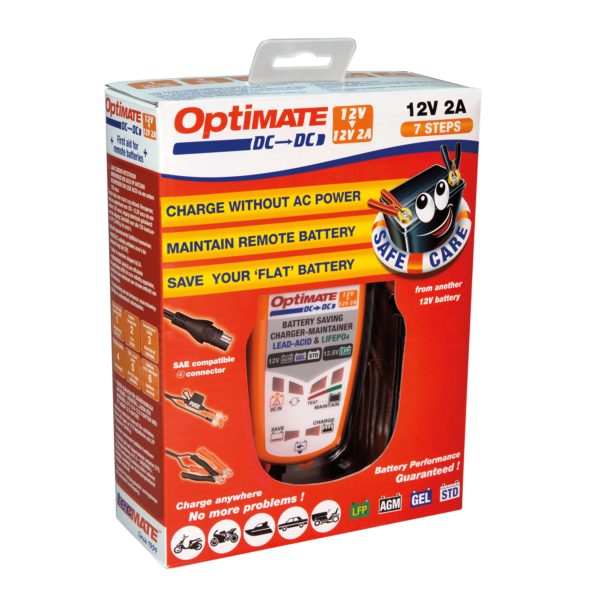 Tecmate TM-500 OptiMATE DC-DC, 6-step 12V:12.8V 2A sealed DC to DC battery saving charger and maintainer (4)