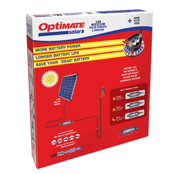 Tecmate TM-523-8 OptiMATE Solar 80W, 6-step 12V 6.66A sealed solar battery saving charger and maintainer (6)