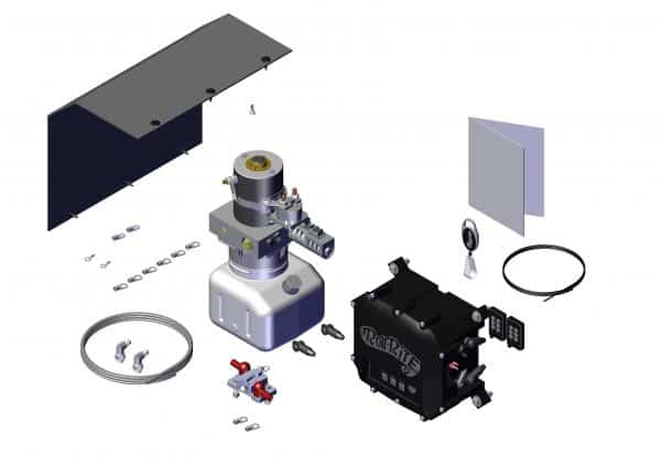 Roll Rite Pump Assembly - 12V Hydraulic Pump 1 Valve with Manifold & Compact Tank - Wireless 39572