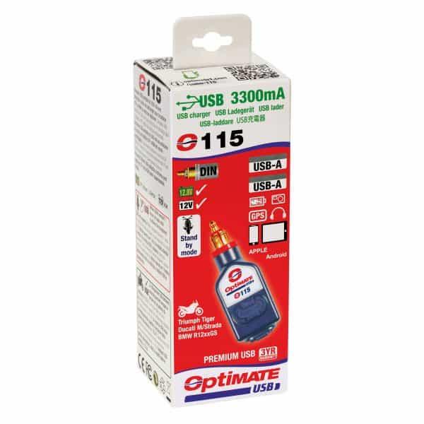 Tecmate 3300mA USB Dual Fast Charge with DIN Plug Straight Tecmate 3300mA USB Dual Fast Charge with DIN Plug Straight O-115