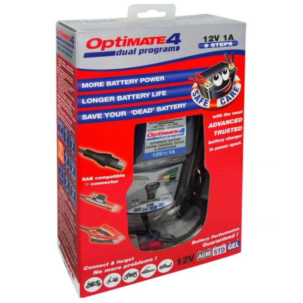 Tecmate OptiMATE 4 Dual Program Battery Charger and Maintainer TM341