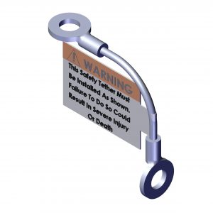 Roll Rite Cable Tether with Install Label for 90 Degree Corner 103533